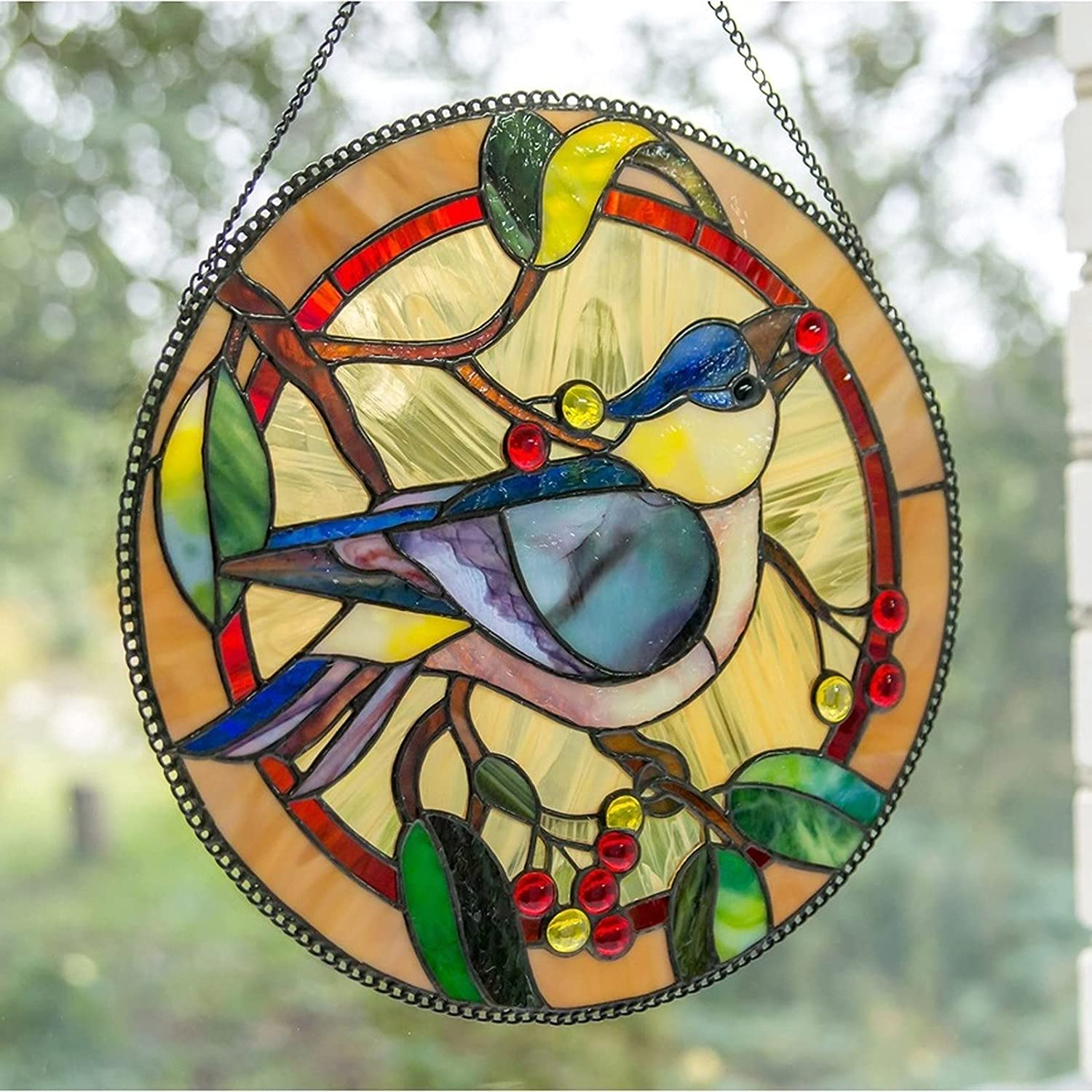 Multicolor Birds on a Max 41% OFF Wire Sale item High Window Glass Suncatcher Stained