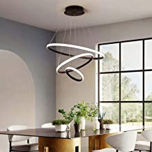 Modern LED Chandelier, Height Adjustable Indoor 3 Rings Pendant Lamp Acrylic Pendant Lighting Fixture for Bedroom Dining R...