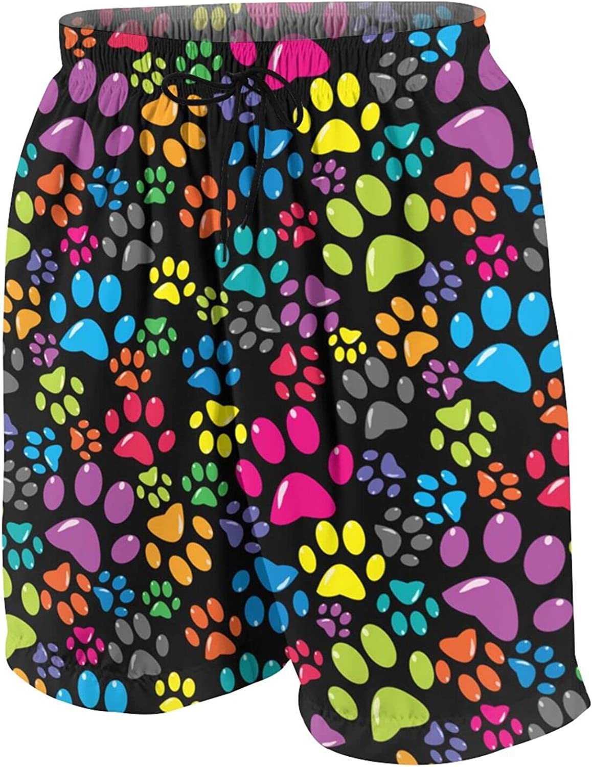 Colorful with Colored Paws Kids Beach Shorts Youth Boys Board Shorts Trunk Swim Swimming Pants for 7-20 Years White