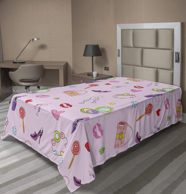 Overseas parallel import regular item Ambesonne Cartoon Flat Sheet Girls with Ac Illustration New life Fashion