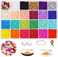 Jewelry Making Beads Kit Gacuyi Multicolor 2mm 12//0 Glass Seed Beads Alphabet Letter Beads Opaque with Elastic String Gift Box for Girls Teen Making Friendship Bracelets Necklaces