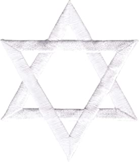 Star Of David - White - Embroidered Iron on Patch