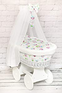 Wicker Wheel Moses Basket Baby Full DIMPLE Bedding Set Canopy White Owls White