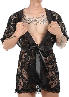 FEESHOW Men Sissy Sleepwear Robe Mesh Lace Nightwear Sexy Sissy Lingerie Set Babydoll with Thongs