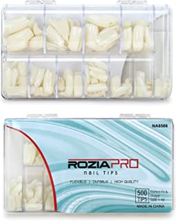 Rozia nail tips for extension,500pcs Acrylic False Nails Long Square Fake Nail Tips Box, 10 Sizes Artificial Nails for Salons and DIY Nail Art (Natural)