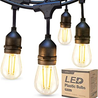 addlon LED Outdoor String Lights 48FT with 2W Dimmable Edison Vintage Plastic Bulbs and Commercial Grade Weatherproof Stra...