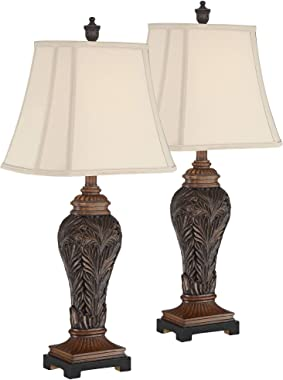 Leafwork Traditional Table Lamps Set of 2 Bronze Vase Light Tan Cut Corner Rectangular Shade for Living Room Bedroom Bedside Nightstand Office Family - Barnes and Ivy