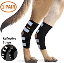 NeoAlly Dog Rear Leg Braces [Pair] Canine Hind Hock Wraps with Safety Reflective Straps for Injury and Sprain Protection, Wound Healing and Loss of Stability from Arthritis - 3 Colors (Pair)