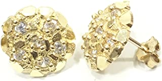 NEW 10K YELLOW GOLD 12 MM DIAMETER ROUNND NUGGET STYLE HIP HOP STYLE STUD EARRINGS