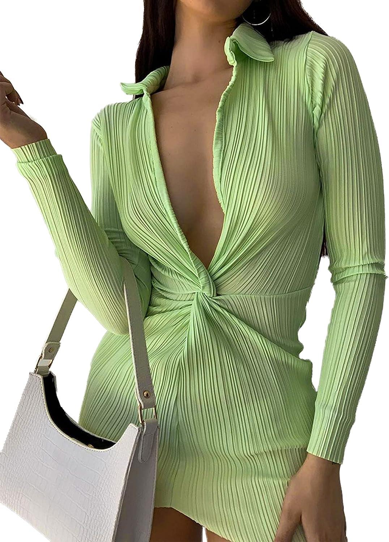 LYANER Women's Collar Deep V Neck Twist Front Ruched Long Sleeve Bodycon Mini Dress