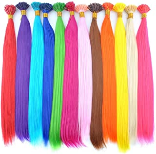 DENIYA Synthetic I Tip Keratin Fusion Hair Extensions Various Color 5G/Strand 50 Strands/Pack Keratin Tip Stick Hair Extensions (I-Tip 45cm) (50 Strand for Rose Pink)