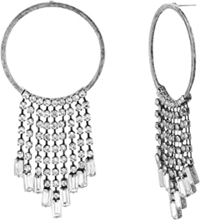 Steve Madden Women's Alloy Rhinestone Silver Drop and Dangle Earrings - SME590377BSCL
