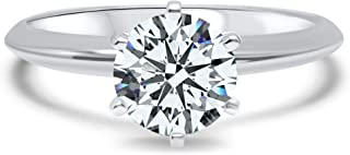 maket 2 Ct Round Cut Diamond 925 Sterling Silver Solitaire Engagement Ring for Women 8
