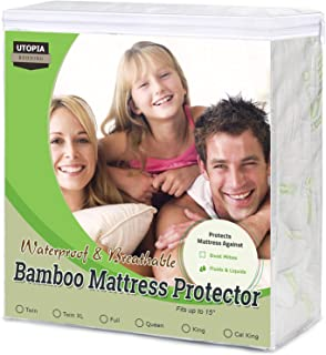 Utopia Bedding Bamboo Mattress Protector – Breathable and Waterproof Mattress Cover - Smooth Grip - Fits 15 Inches Deep - Easy Care (Twin)