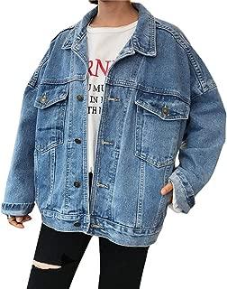 iHHAPY Women Denim Jacket Loose Denim Jacket Vintage Coat Oversize Boyfriend Jasket Casual Washed Denim Patches Jacket
