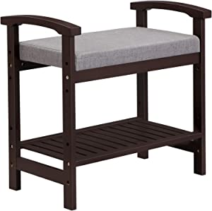 SONGMICS Bamboo Shoe Bench Storage Rack, Padded Seat, with Armrests, Adjustable Shelf, Max. Load Capacity 256 lb, for Entryway, Living Room, Brown ULBS66BR