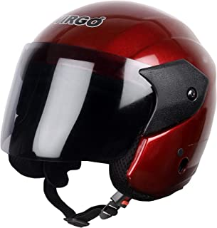 Virgo Open Face ARU_ Color W-Red Glossy finish visor Tinted