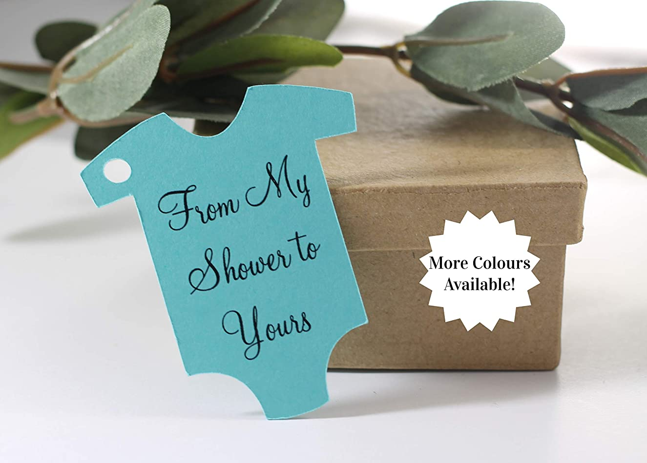 Aqua Baby Shower Tags - Baby One Piece Tags (Set of 20)