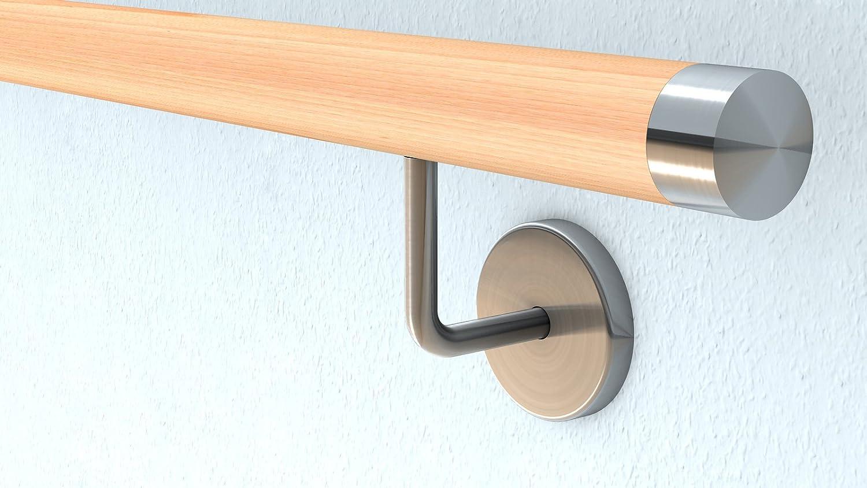 Buche Holz Treppe Handlauf Gel/änder Griff gerade Edelstahlhalter Enden = Halbkugel gefr/äst L/änge 30-500 cm aus einem St/ück//zum Beispiel L/änge 90 cm mit 2 gerade Halter