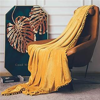 DEZENE Manta de Franela con Pompones, Manta de Felpa Suave para Sofá Cama, Manta Gruesa y Esponjosa, Manta de Felpa de Franela,150 x 200cm,Amarillo