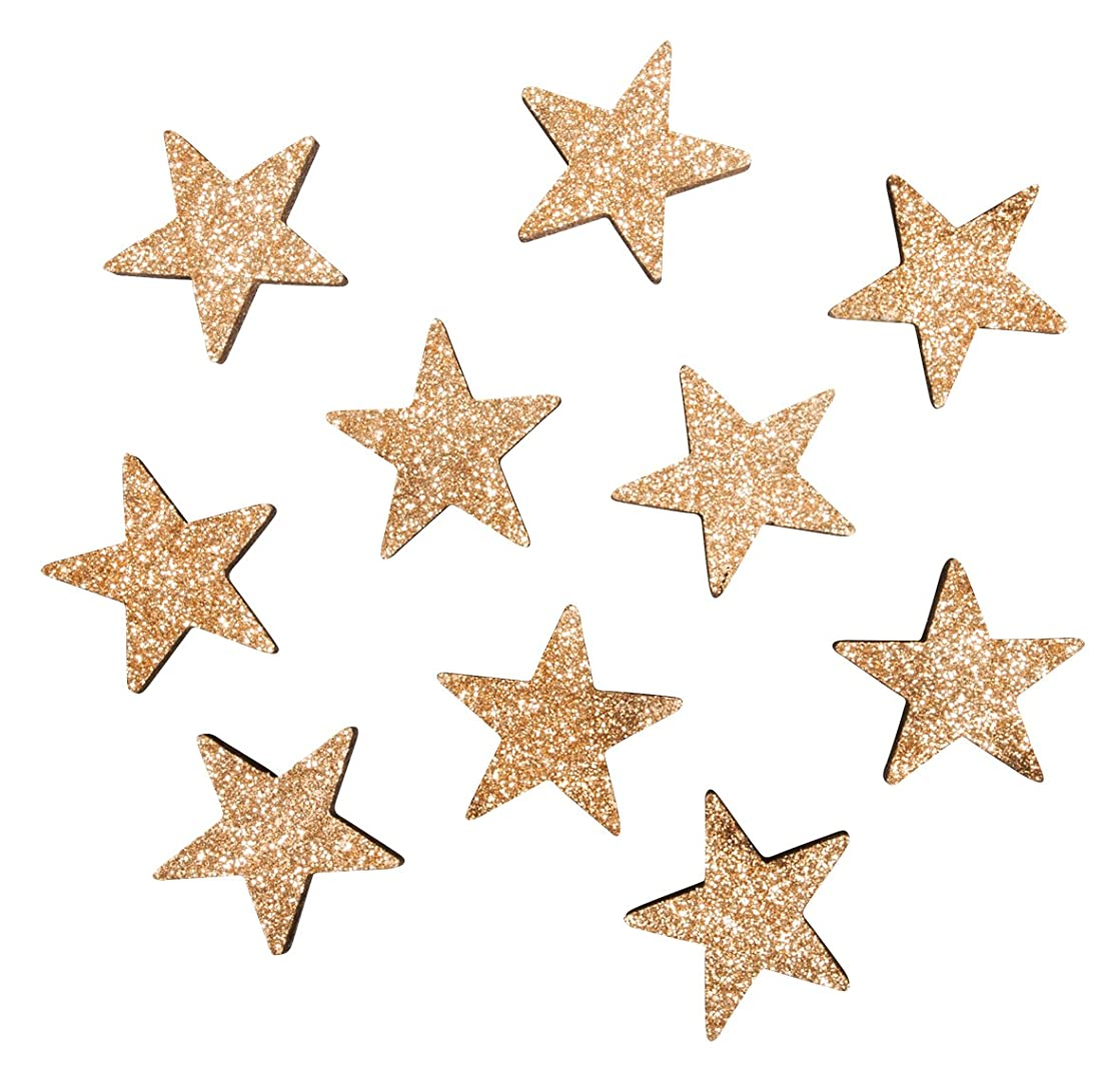 Rayher 46298617 Small Wooden Objects Stars, 3cm ?, Cashmere Gold