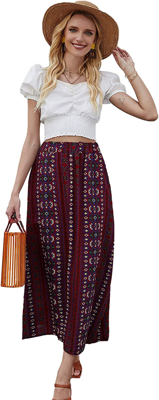 Milumia Women Boho Tribal Embroidery Elastic High Waisted Soft A Line Vacation Maxi Long Skirts