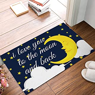 Lucy Curme Funny Quotes Door Mat,Starry Night I Love You to The Moon and Back,Decorative Felt Floor Mat with Non-Skid Backing,Fit for Home Indoor Kitchen()