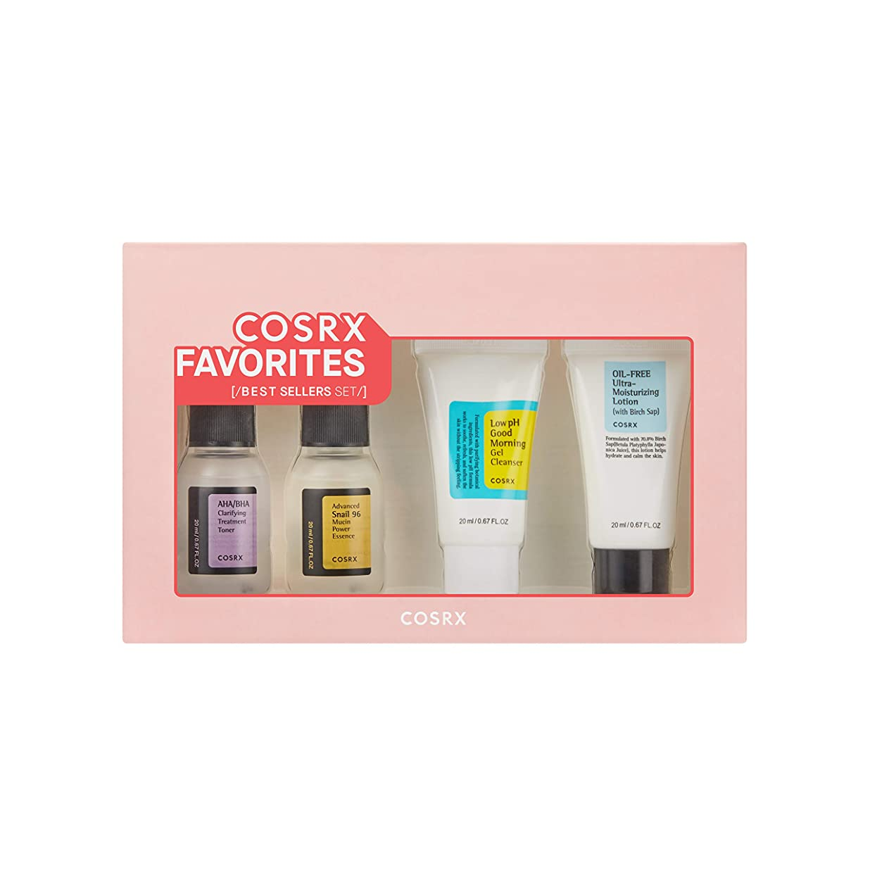 動機魔術師専門用語COSRX Favorites Best Sellers Set - Mini Sized Low pH Good Morning Gel Cleanser, AHA/BHA Clarifying Treatment Toner, Advanced Snail 96 Mucin Power Essence, Oil-Free Ultra Moisturizing Lotion (並行輸入品)