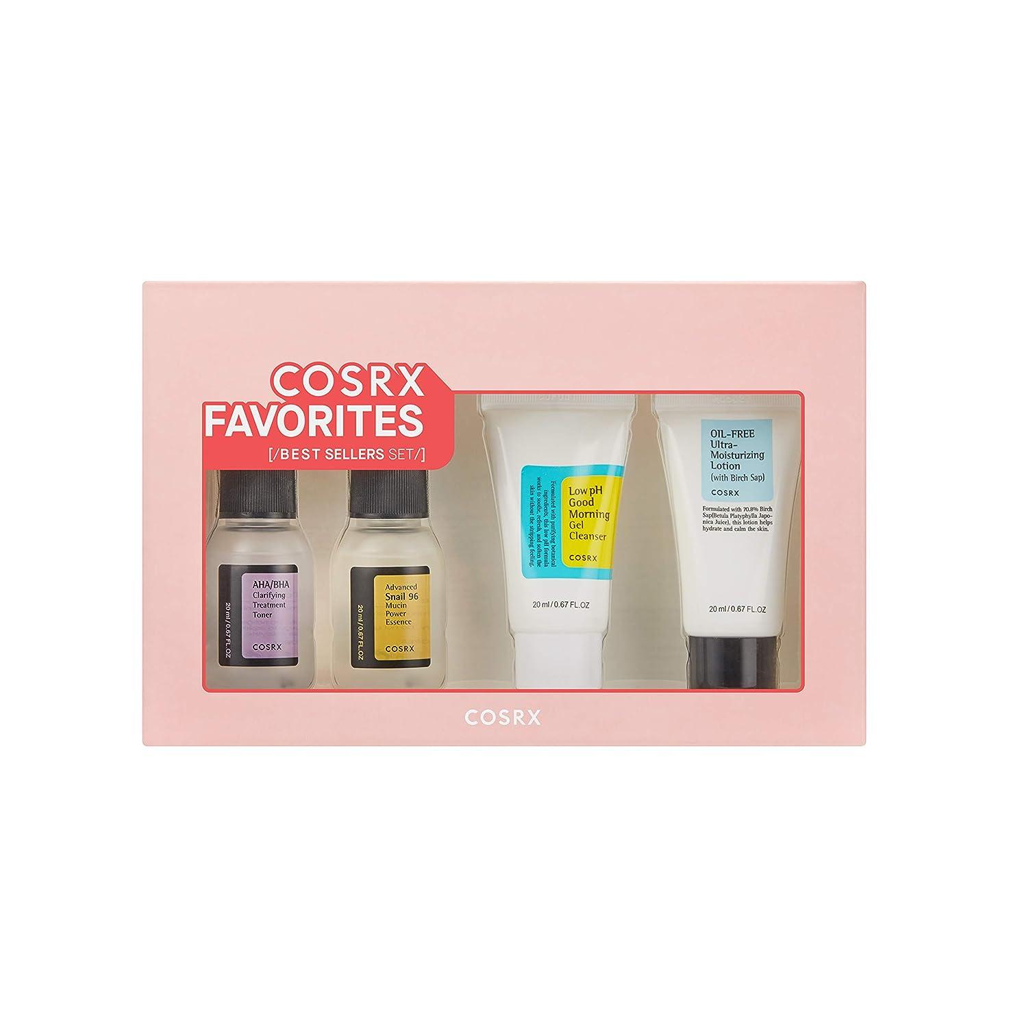 間例めったにCOSRX Favorites Best Sellers Set - Mini Sized Low pH Good Morning Gel Cleanser, AHA/BHA Clarifying Treatment Toner, Advanced Snail 96 Mucin Power Essence, Oil-Free Ultra Moisturizing Lotion (並行輸入品)