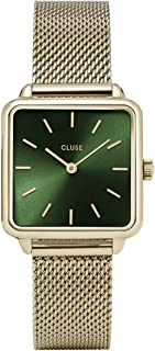 LA TÉTRAGONE Mesh Gold Forest Green CL60014 Women's Watch 29mm Square Dial Stainless Steel Strap Minimalistic Design Casual Dress Japanese Quartz Precision