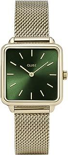 CLUSE LA TÉTRAGONE Mesh Gold Forest Green CL60014 Women's Watch 29mm Square Dial Stainless Steel Strap Minimalistic Design Casual Dress Japanese Quartz Precision