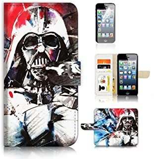 ( For iPhone 5 5S / iPhone SE ) Flip Case Wallet Cover with Screen Protector - US B30006 - Starwars Darth Vader B30006