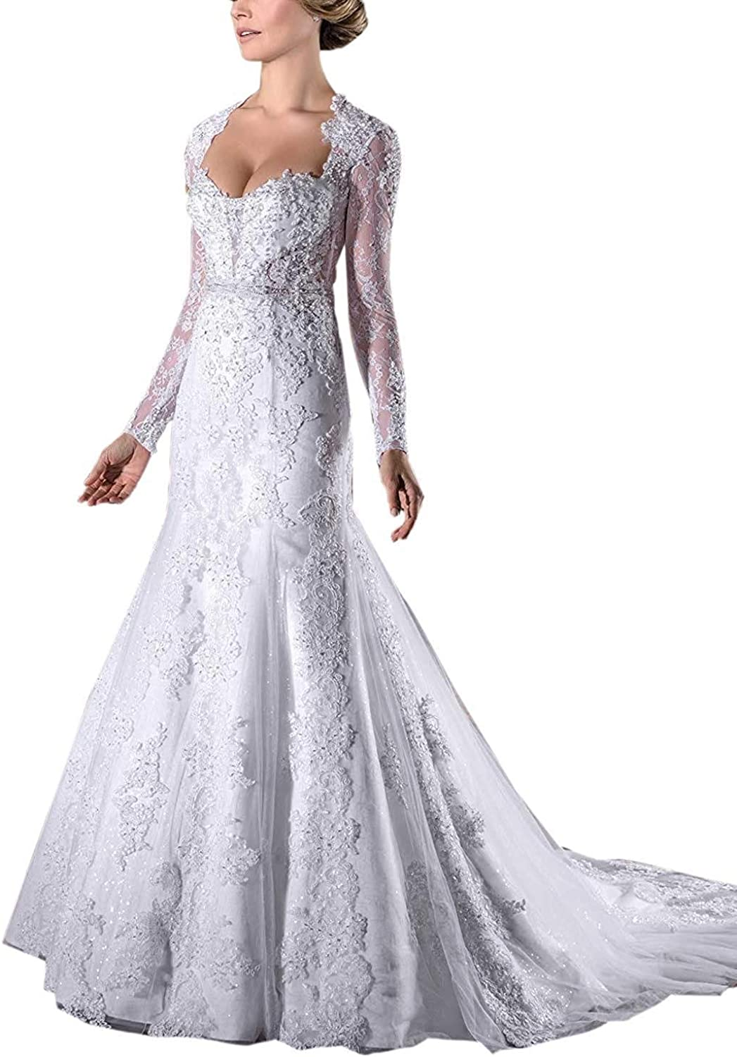 MARSEN Sweetheart Wedding Dresses for Bride Long Sleeve Applique Mermaid Bridal Gown