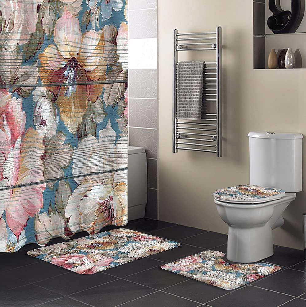 Womenfocus 4Pcs Shower Curtain Sets Very popular Bath with Non-Slip Rugs Raleigh Mall Toil