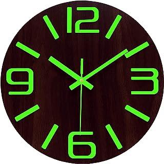 Plumeet Luminous Wall Clocks - 12'' Non-Ticking Silent Wooden Clock with Night Light - Large Decorative Wall Clock for Kit...