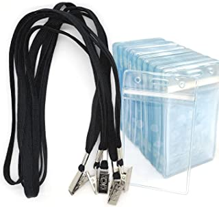 Name Badge Bird Fiy 50 Pack Lanyards with Bulldog Clip and 50 Pack Waterproof Clear Plastic Vertical Name Tag Badge ID Card Holders(Black)