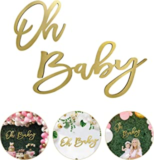 Large Round Baby Shower Sign Oh Baby Sign 17\u201d or 24 Acrylic Laser Cut and Engraved Custom Design option