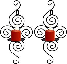 Set of 2 Iron Vertical Wall Hanging Candle Holder Sconce for Wedding Dinner Party Decoration (Black)