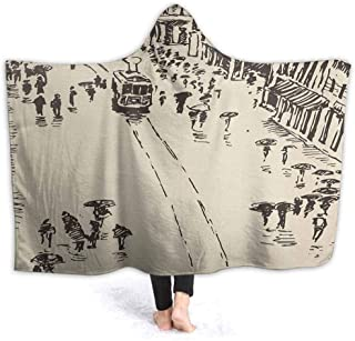 prunushome Stuffed Animal Blanket Cityscape Sketch Art Kids Huggable Pillow and Blanket Perfect for Pretend Play, Travel, nap time 50W by 40H Inches(with Hooded)
