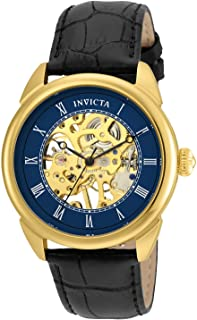 Invicta Men's Specialty Stainless Steel Mechanical-Hand-Wind Watch with Leather Calfskin Strap, Black, 22 (Model: 23536)