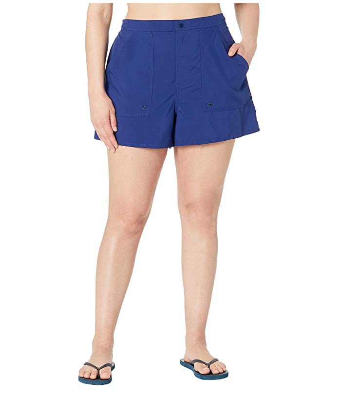 Maxine of Hollywood Swimwear Plus Size Solids Woven Boardshorts (Navy) Women