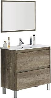 Mueble lavabo de baño o aseo con lavamanos de cerámica y