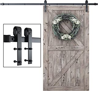 """Best SmartStandard 8 Foot One-Piece Track Sliding Barn Door Hardware Kit - Smoothly and Quietly - Easy to Install - Includes Step-By-Step Installation Instruction -Fit 42""""- 48"""" Door Panel (J shape) Review"""
