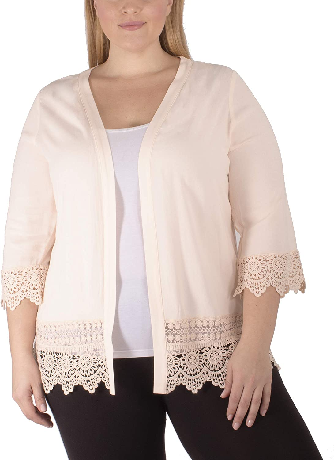 Crepe Cardigan with Crochet Trim On Hem and Cuffs