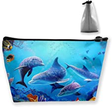 Underwater World Seaweed Dolphin Artist Storage Bag with Adjustable for Cosmetics Makeup Brushes Toiletry