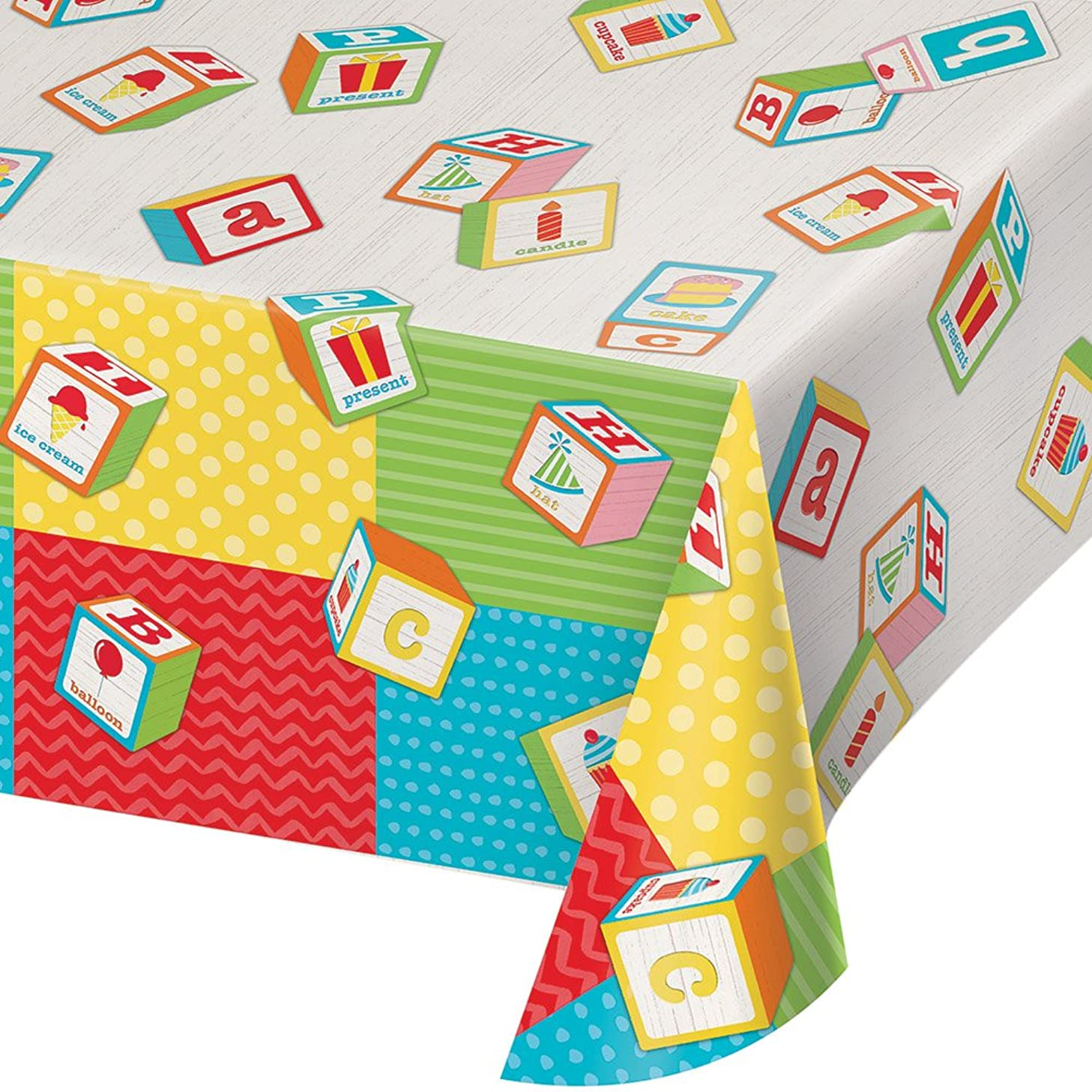 Creative Converting 329337 All Over Print Plastic Tablecover, ABC Birthday