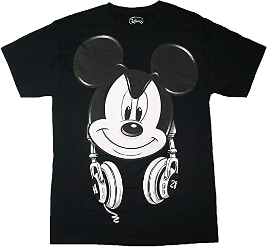 Mickey Mouse Headphones Hommes's Graphic T Shirt (Medium)