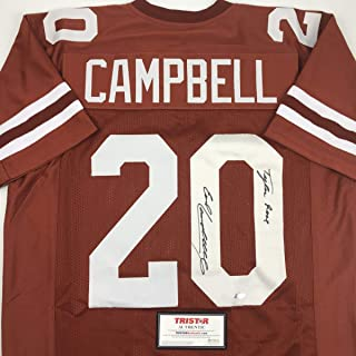 Autographed/Signed Earl Campbell Tyler Rose Texas Orange College Football Jersey Tristar COA