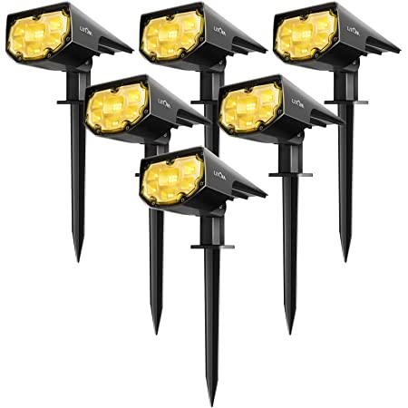 IP67 Waterproof Solar Powered Wall Lights 2-in-1 Wireless Outdoor Solar Landscaping Lights for Yard Garden Driveway Porch Walkway Patio 2 Pack Bronze-Colored LITOM 12 LEDs Solar Landscape Spotlights