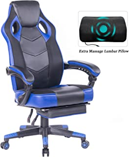 HEALGEN Gaming Chair with Footrest Racing Computer PC Chair Ergonomic High Back Swivel Executive Office Chair Mesh Leather Reclining Desk Chair (RC906 Blue)